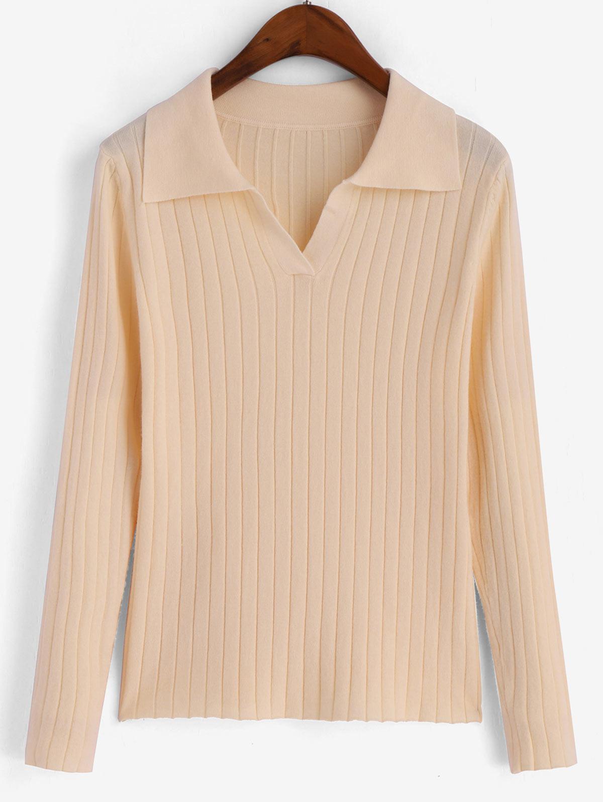 Turn Down Collar Ribbed Long Sleeve Knitwear