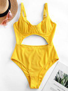 ZAFUL Underwire انقطاع العقدة العليا قص قطعة واحدة ملابس السباحة - صن اصفر L