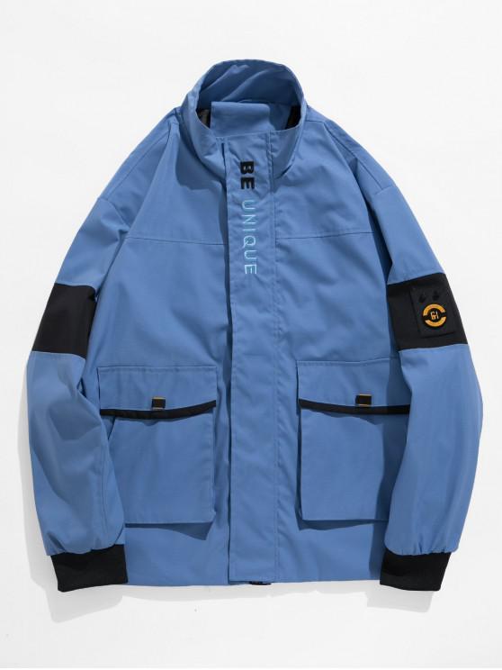 Графическая вышивка буквы Повседневная Куртка - Светло-синий 3XL