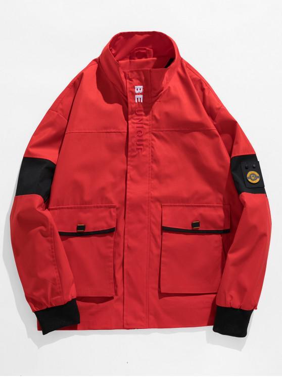 Графическая вышивка буквы Повседневная Куртка - Лава-красный 3XL