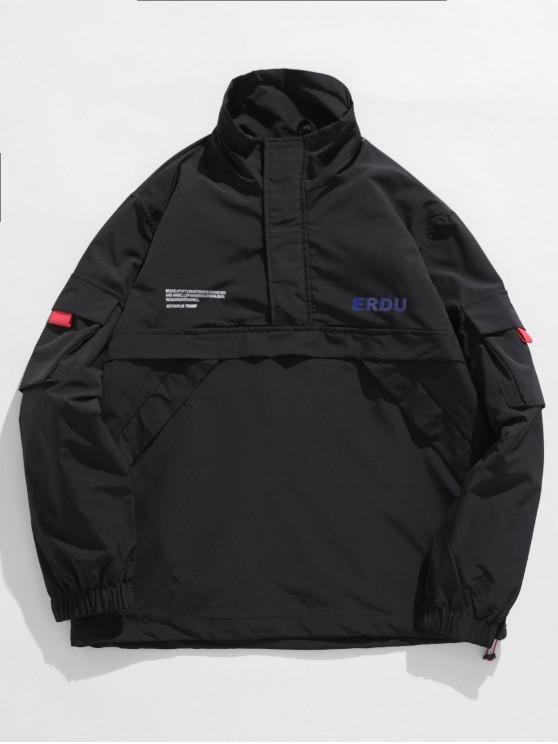 online Letter Pattern Zipper Decoration Jacket - BLACK M
