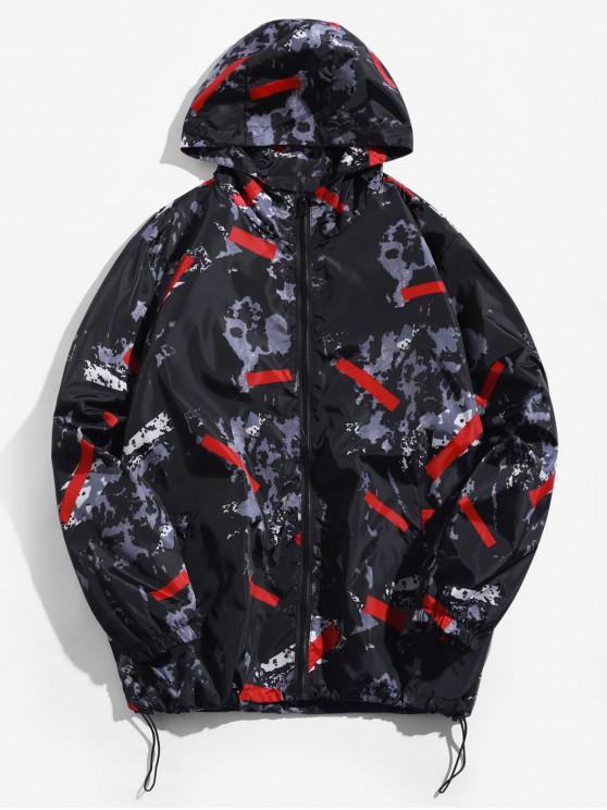 hot Camouflage Contrast Geometric Zip Up Hooded Jacket - RED XL