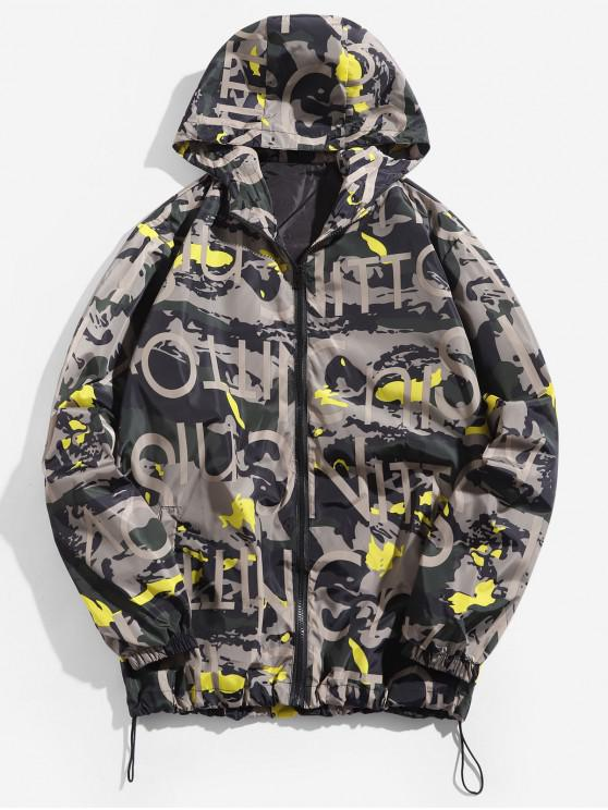 hot Camouflage Letter Print Zip Up Hooded Jacket - YELLOW L