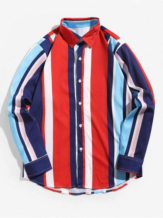 affordable Contrast Stripes Splicing Turn Down Collar Button Shirt - MULTI M