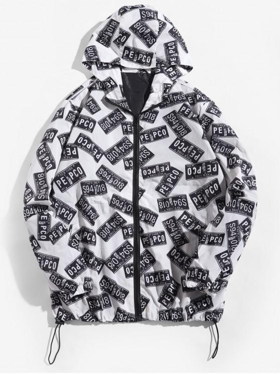 ladies Letter Graphic Statue of Liberty Print Hooded Jacket - WHITE 4XL