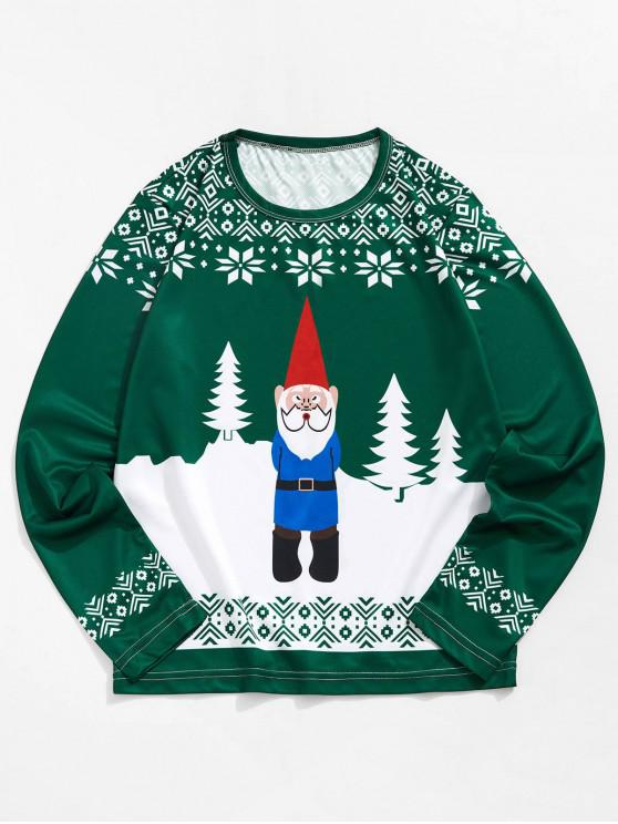 online Christmas Santa Snowflake 3D Print Long Sleeve T-shirt - MEDIUM SEA GREEN S