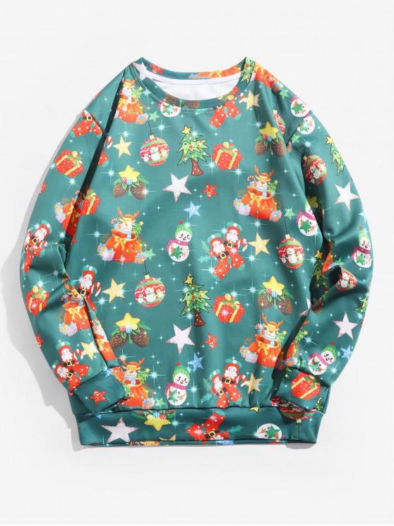 women's Santas Snowmen Ball Christmas Pattern Pullover Sweatshirt - MULTI M