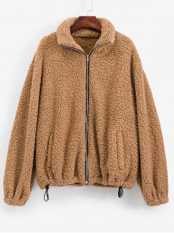 ZAFUL Alternar con cordón Zip Up bolsillos de la chaqueta de peluche - Tigre Anaranjado M