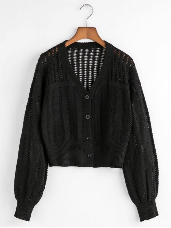 Botón de cuello en V Hasta abierto chaqueta de punto - Negro Talla única