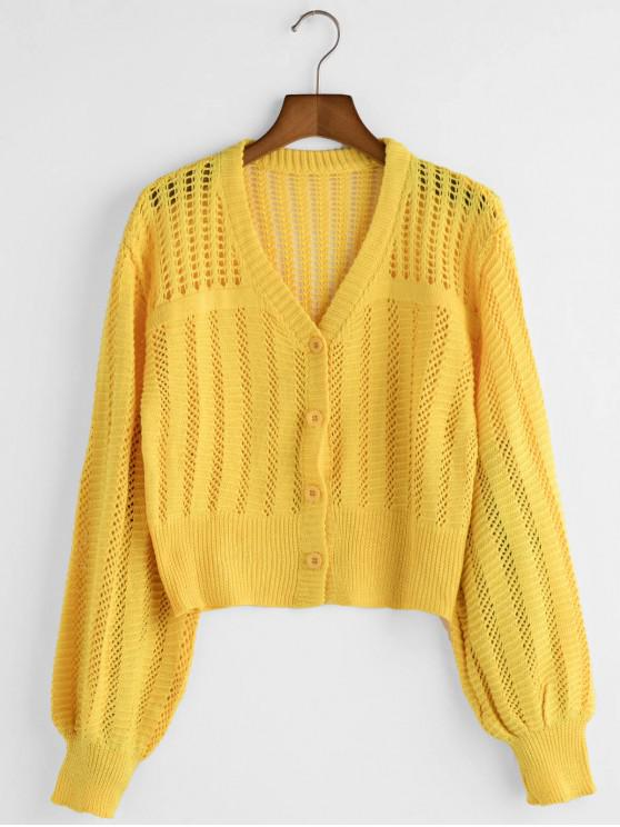 women V Neck Button Up Open Knit Cardigan - YELLOW ONE SIZE