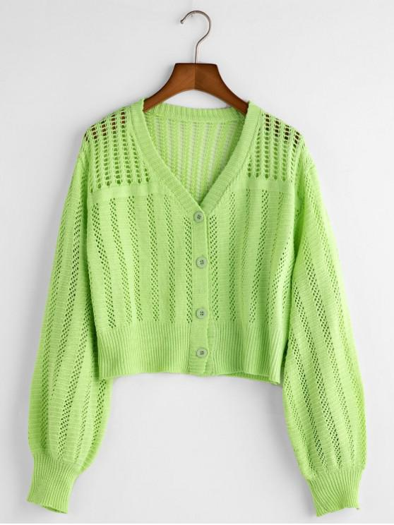 hot V Neck Button Up Open Knit Cardigan - GREEN ONE SIZE