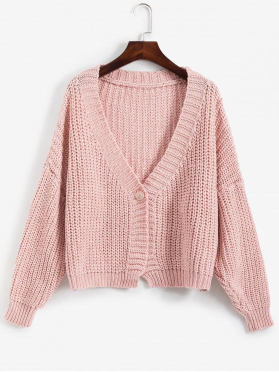outfits V Neck One Buttoned Chunky Cardigan - PINK ONE SIZE