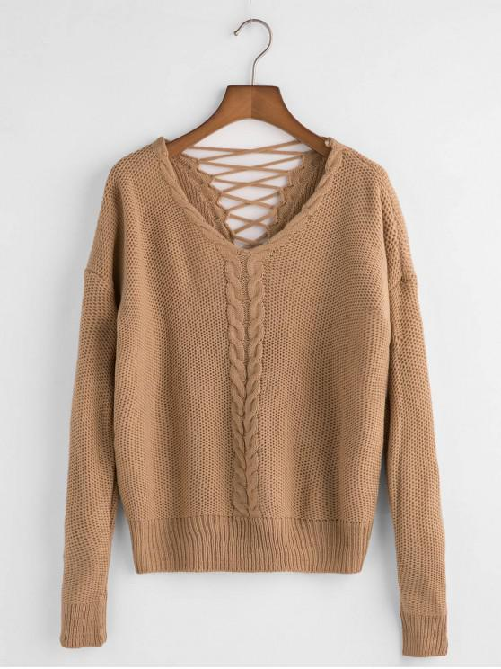 affordable V Neck Cable Knit Lattice Back Sweater - BROWN ONE SIZE