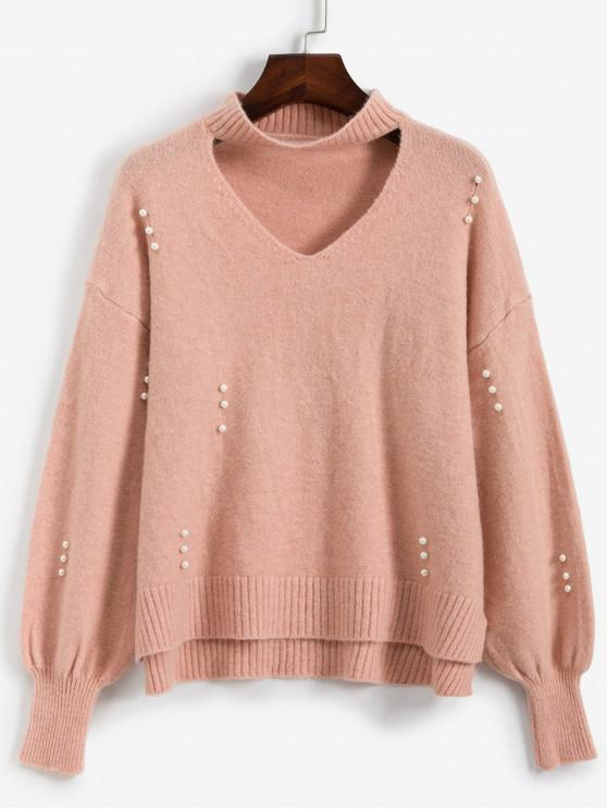 women's Faux Pearls High Low Slit Choker Sweater - ROSE ONE SIZE