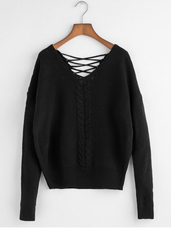 V Neck Cable Knit del enrejado Volver suéter - Negro Talla única