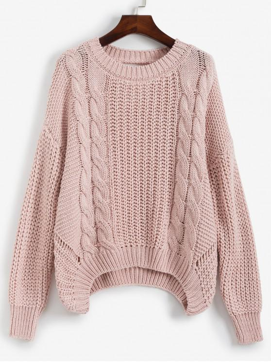 Caída de hombro tejido en cable Cut Out Back suéter - Rosa Talla única