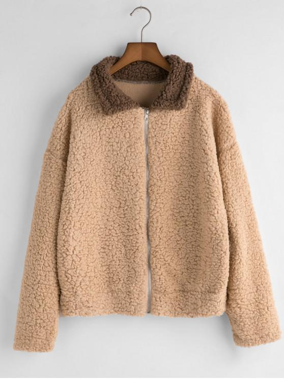 trendy Colorblock Fuzzy Coat - LIGHT KHAKI M