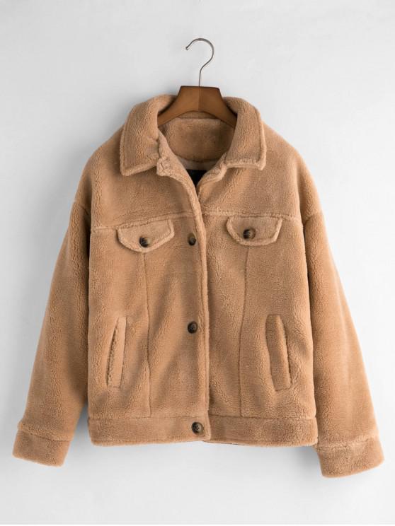 lady Pockets Button Up Fluffy Teddy Jacket - LIGHT KHAKI S