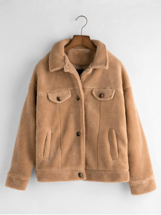 fashion Pockets Button Up Fluffy Teddy Jacket - LIGHT KHAKI L