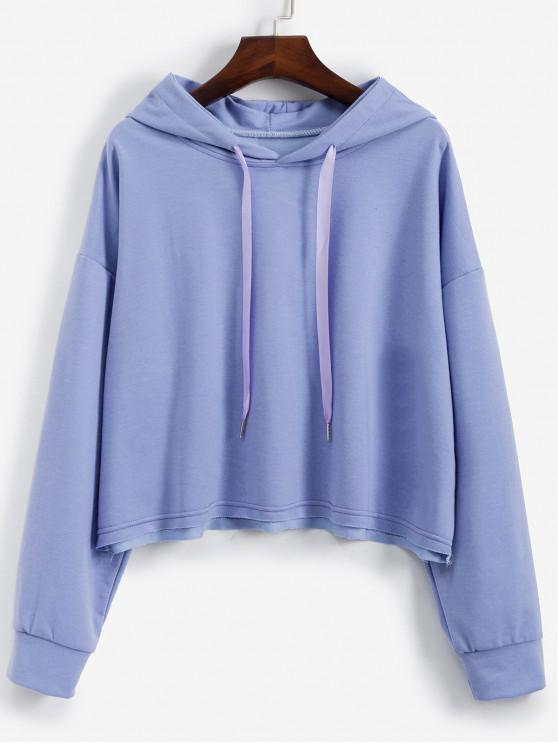 best Drawstring Drop Shoulder Loose Plain Hoodie - PURPLE L
