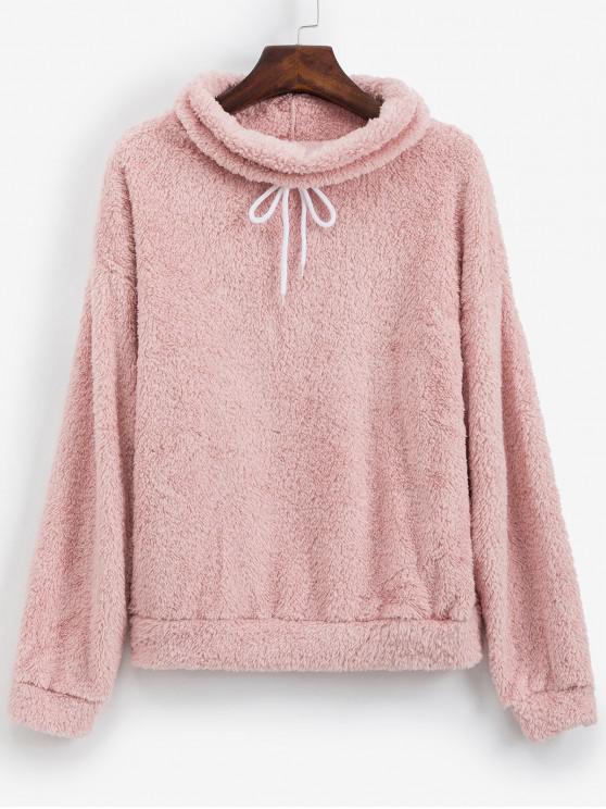 women's Drawstring Cowl Neck Fluffy Teddy Sweatshirt - PINK L