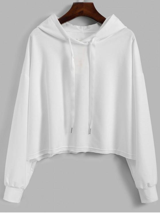 latest Drawstring Drop Shoulder Loose Plain Hoodie - WHITE S