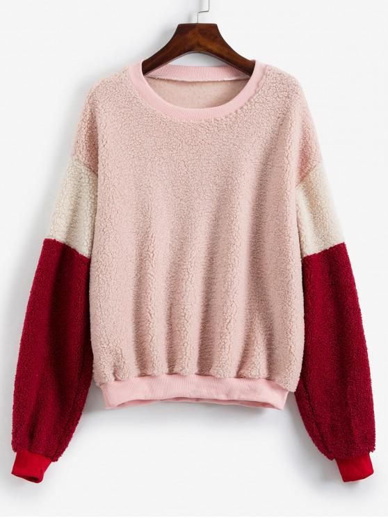 shop Ribbed Trim Drop Shoulder Colorblock Teddy Sweatshirt - SAKURA PINK S