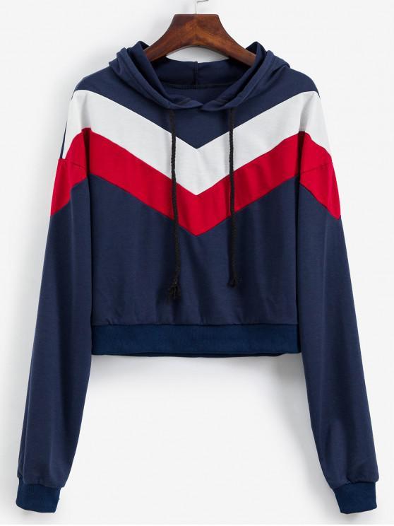 outfits Drawstring Drop Shoulder Colorblock Hoodie - LAPIS BLUE L