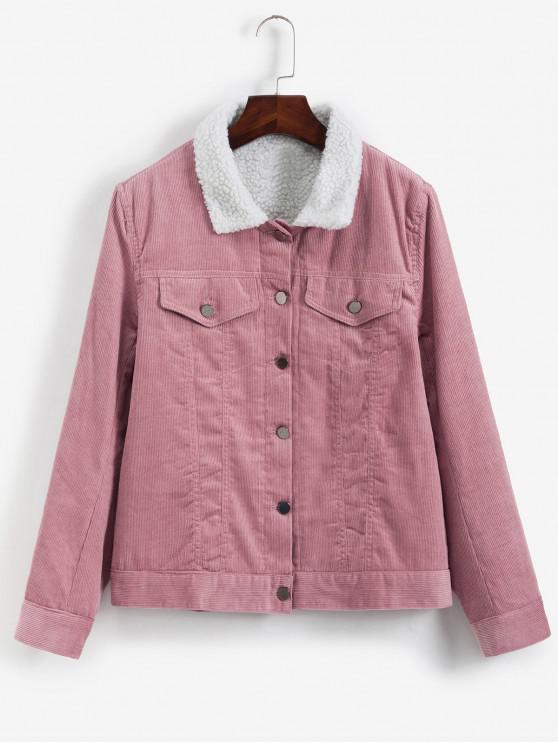 Botón encima del Faux bolsillos de la chaqueta de pana - Rosado L