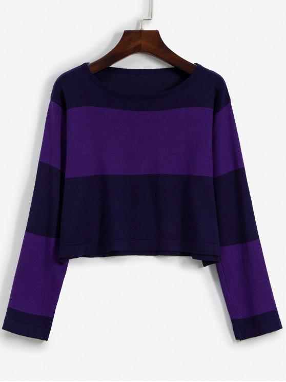 sale Pullover Colorblock Crew Neck Cropped Sweater - PURPLE ONE SIZE