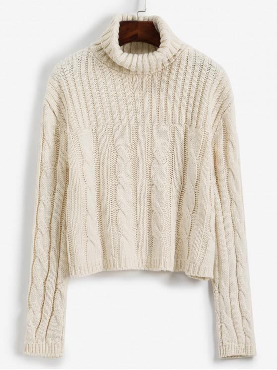 shop Turtleneck Cable Knit Loose Sweater - WHITE ONE SIZE