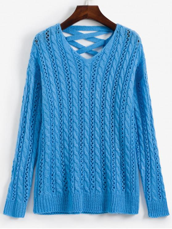 chic Lattice Open Knit Cable Knit V Neck Sweater - DEEP SKY BLUE ONE SIZE