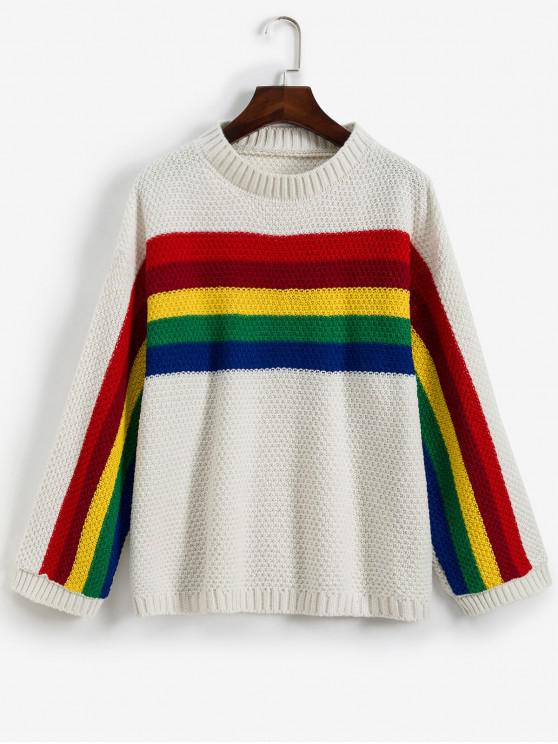 shops Crew Neck Drop Shoulder Rainbow Stripes Sweater - WHITE ONE SIZE