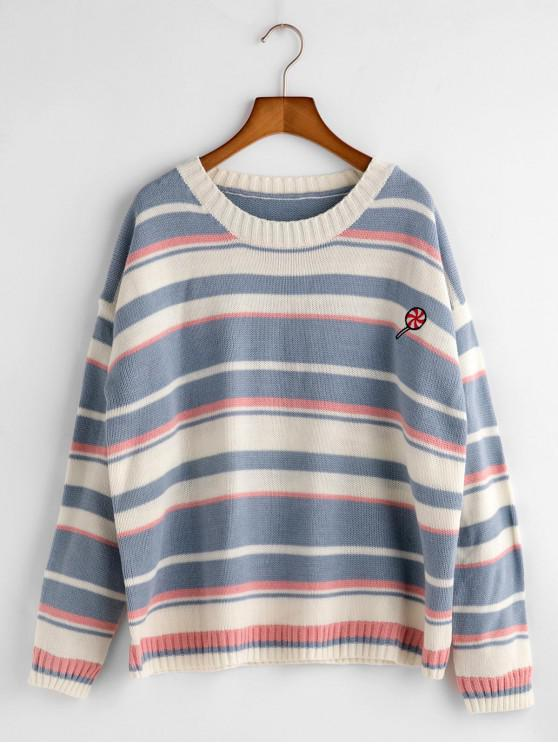 women Funny Embroidery Striped Sweater - DAY SKY BLUE ONE SIZE