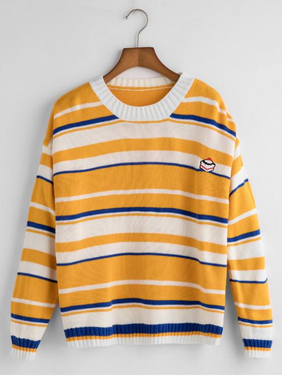 women Funny Embroidery Striped Sweater - GOLDEN BROWN ONE SIZE