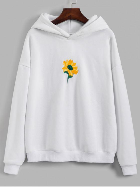 womens Sunflower Embroidered Drop Shoulder Hoodie - WHITE L