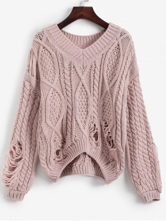 online V Neck Cable Knit Chunky Distressed Sweater - ROSE ONE SIZE