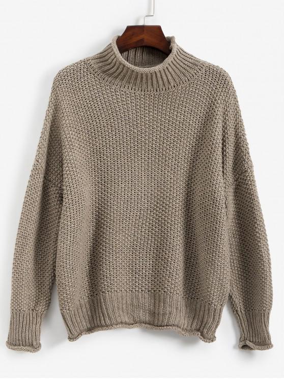 fashion Drop Shoulder Rolled Edge Mock Neck Sweater - KHAKI ONE SIZE
