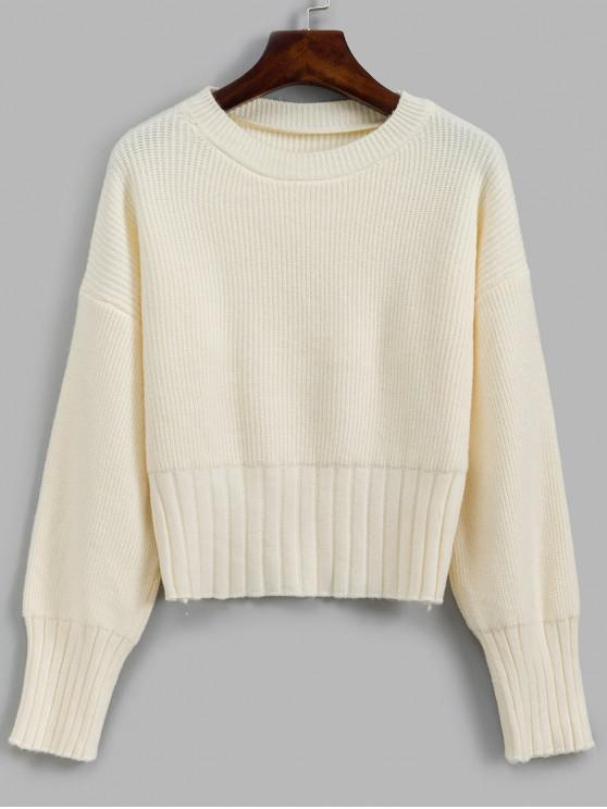 hot Solid Crew Neck Drop Shoulder Sweater - WHITE ONE SIZE