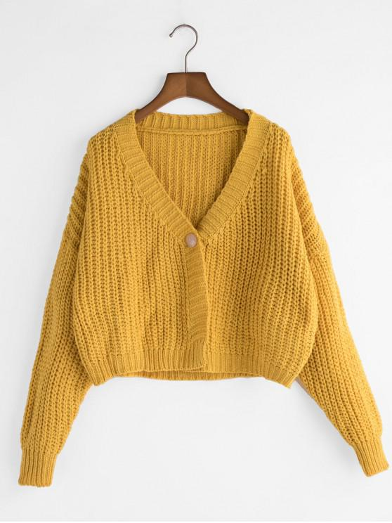 shops Loose Cropped One Buttoned Chunky Cardigan - YELLOW ONE SIZE
