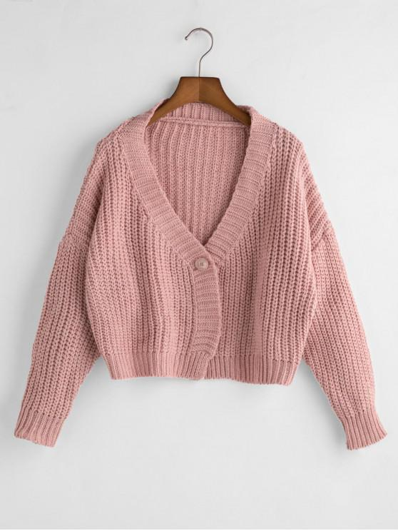 best Loose Cropped One Buttoned Chunky Cardigan - PINK ONE SIZE