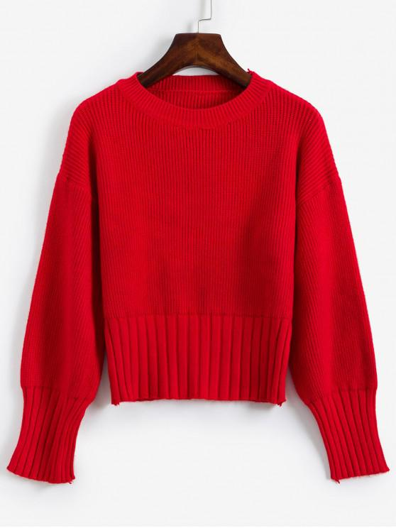 outfit Solid Crew Neck Drop Shoulder Sweater - RED ONE SIZE