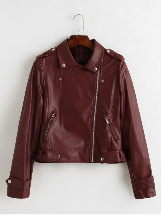 fancy Belted Zip Up Zippered Pockets Biker Jacket - RED WINE M