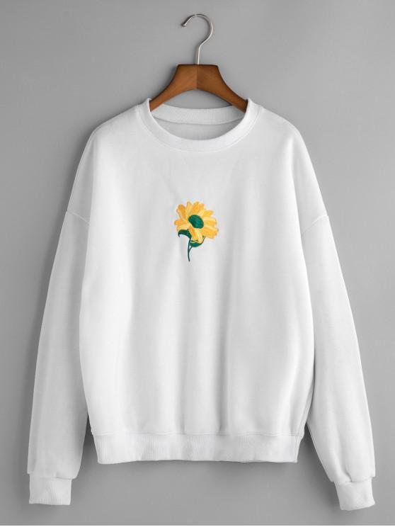 Sweat-shirt Tournesol Brodé à Goutte Epaule - Blanc L
