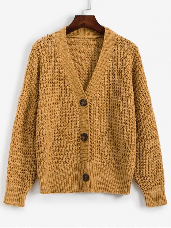 chic V Neck Drop Shoulder Button Front Cardigan - BROWN SUGAR ONE SIZE