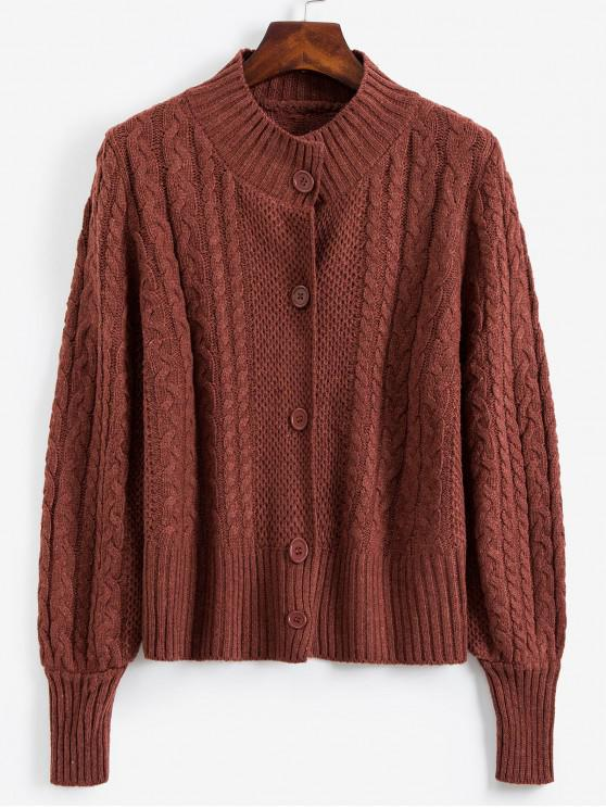 trendy Mock Neck Button Front Cable Knit Cardigan - BROWN ONE SIZE