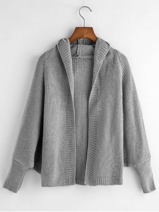 affordable Dolman Sleeves Solid Hooded Cardigan - GRAY ONE SIZE