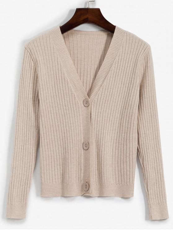 lady Ribbed Button Up Cardigan - APRICOT ONE SIZE