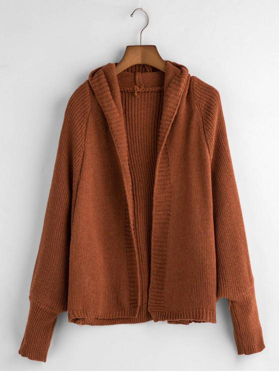 chic Dolman Sleeves Solid Hooded Cardigan - BROWN ONE SIZE