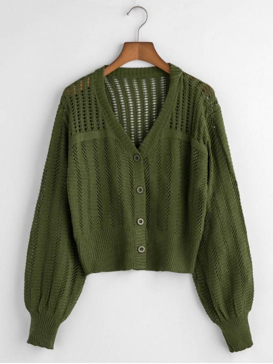 ladies V Neck Button Up Open Knit Cardigan - ARMY GREEN ONE SIZE